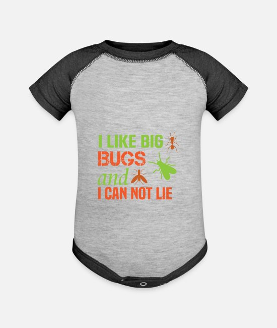 Bugs Baby One Pieces - I like Big Bugs Flying Insect Collection Crawling - Baseball Baby Bodysuit heather gray/charcoal