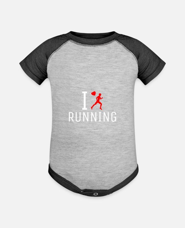 Runner Baby One Pieces - Jogging Marathon Runner Funny Shirt Gift Idea - Baseball Baby Bodysuit heather gray/charcoal