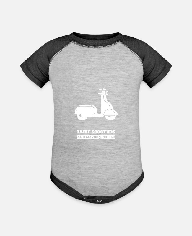 Biker Baby One Pieces - Scooter - Baseball Baby Bodysuit heather gray/charcoal