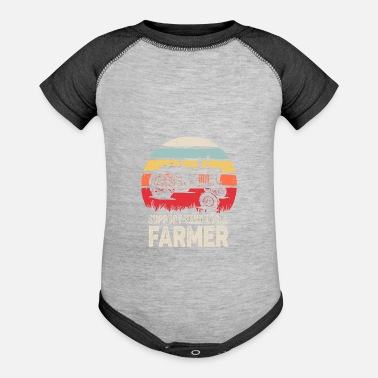 Retro Support Your Local Farmer Shirt Vintage Trac - Baseball Baby Bodysuit