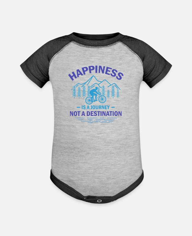 Mountains Baby One Pieces - Happiness Is A Journey Not A Destination pb - Baseball Baby Bodysuit heather gray/charcoal