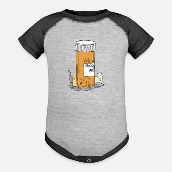Happy Baby Clothing - Happy Pills Cats - Baseball Baby Bodysuit heather gray/charcoal