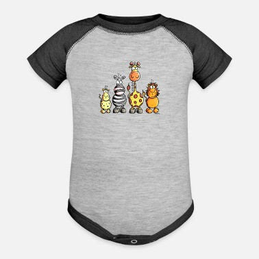 Africa Cute Africa Animals - Zoo - Kids - Cute - Comic - Contrast Baby Bodysuit