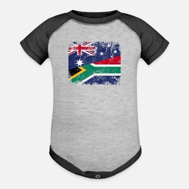 South Africa AUSTRALIA SOUTH AFRICA FLAG - Half South African - Baseball Baby Bodysuit