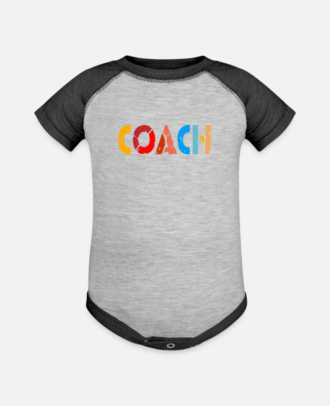 Training Baby One Pieces - Coach and Trainer - Baseball Baby Bodysuit heather gray/charcoal