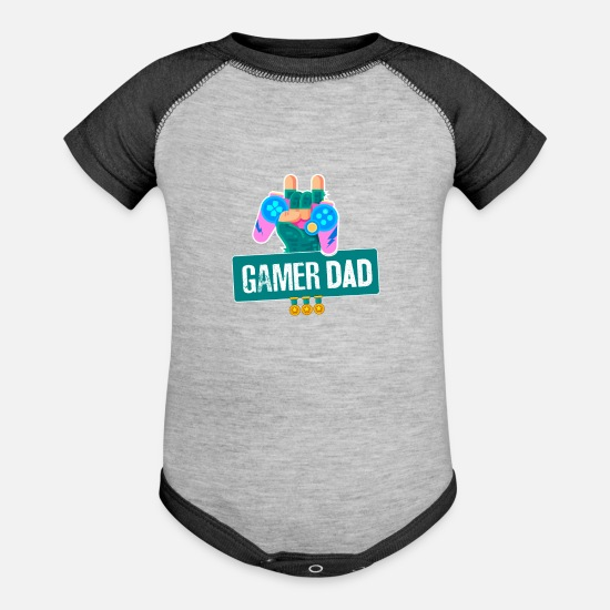 Birthday Baby Clothing - Funny Gamer Dad graphic For Video Gamer Geeks by - Baseball Baby Bodysuit heather gray/charcoal