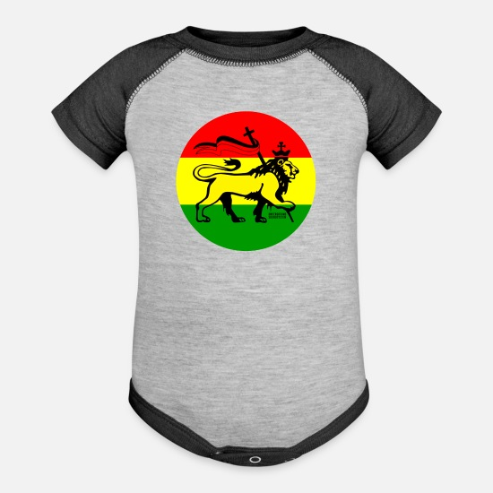 Rasta Baby Clothing - RASTA CONQUERIN LION - Baseball Baby Bodysuit heather gray/charcoal