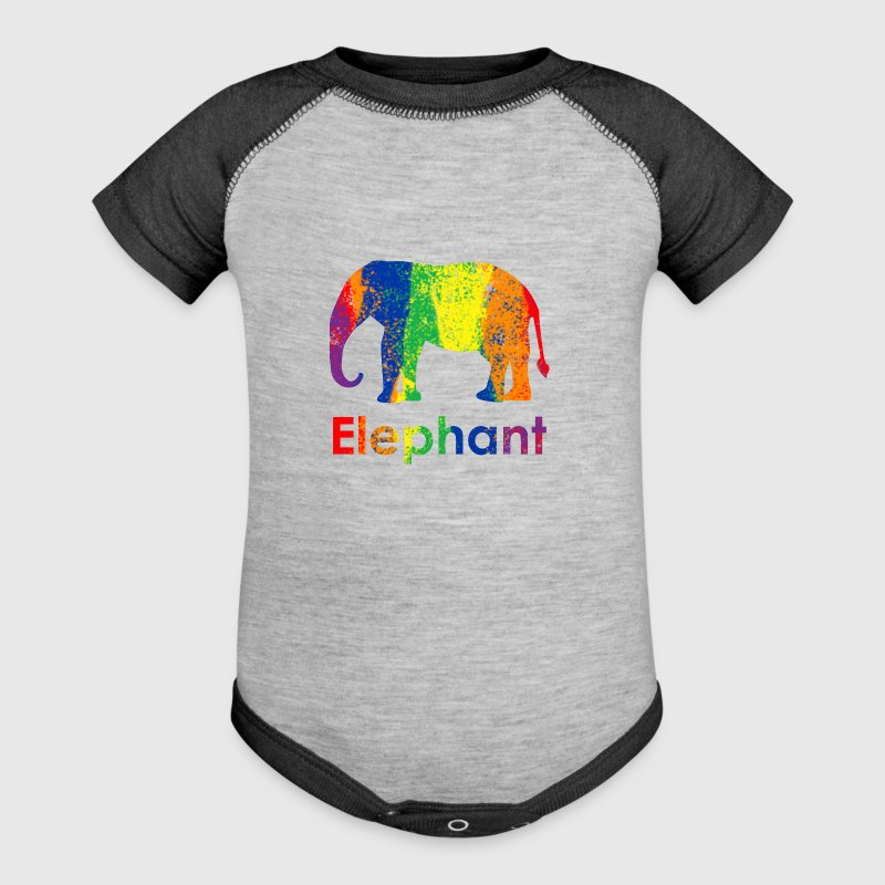 Cute, Fun and Colorful Abstract Rainbow Elephant - Baby Contrast One Piece