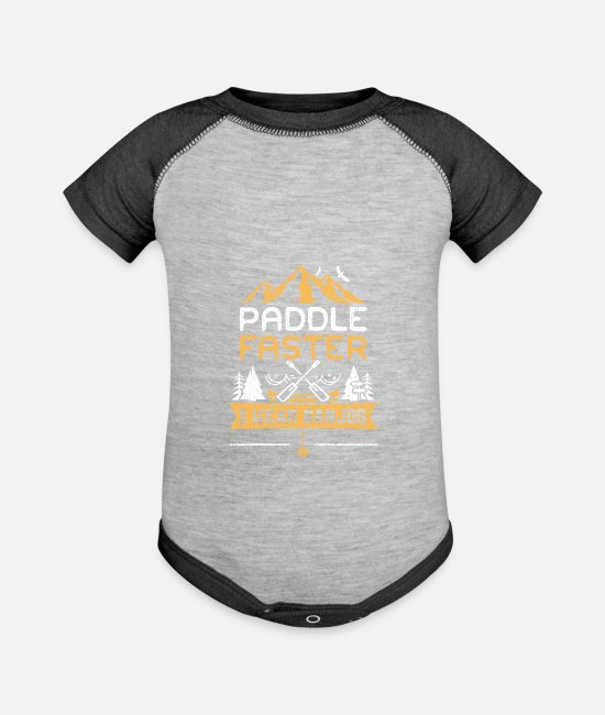 Mountains Baby One Pieces - Paddle Faster I Hear Banjos - Camping - Baseball Baby Bodysuit heather gray/charcoal