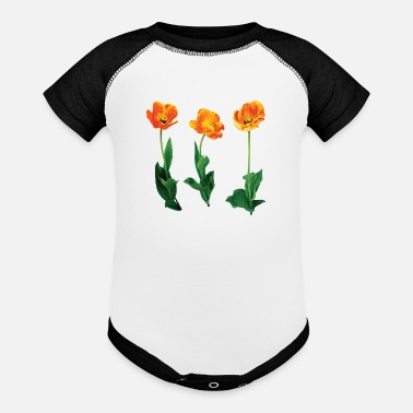 Tulip Three Tulips in a Row - Baseball Baby Bodysuit