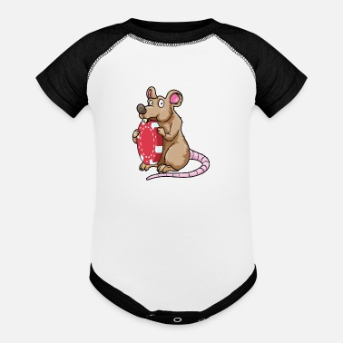 Boy Mouse at Poker with Poker chips - Baseball Baby Bodysuit