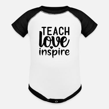 Learn Teach Love Inspire Homeschool Motivational Quote - Baseball Baby Bodysuit