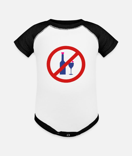 Vector-no-alcoholic-beverage-sign-design Baby One Pieces - ✔๏̯͡๏ No Alcohol-Ban Drinking-Prohibition๏̯͡๏✔ - Baseball Baby Bodysuit white/black