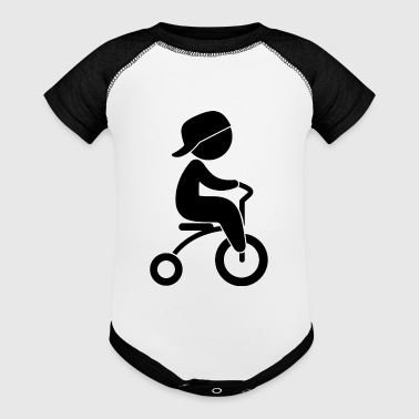 Boy Riding His Tricycle - Baby Contrast One Piece