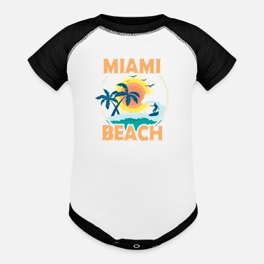 Beach Retro Cool Miami Beach Souvenir Gift Florida - Baseball Baby Bodysuit