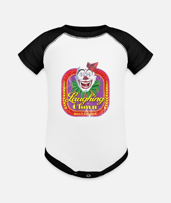 Wonder Bread Baby One Pieces - Laughing Clown Malt Liquor - Baseball Baby Bodysuit white/black