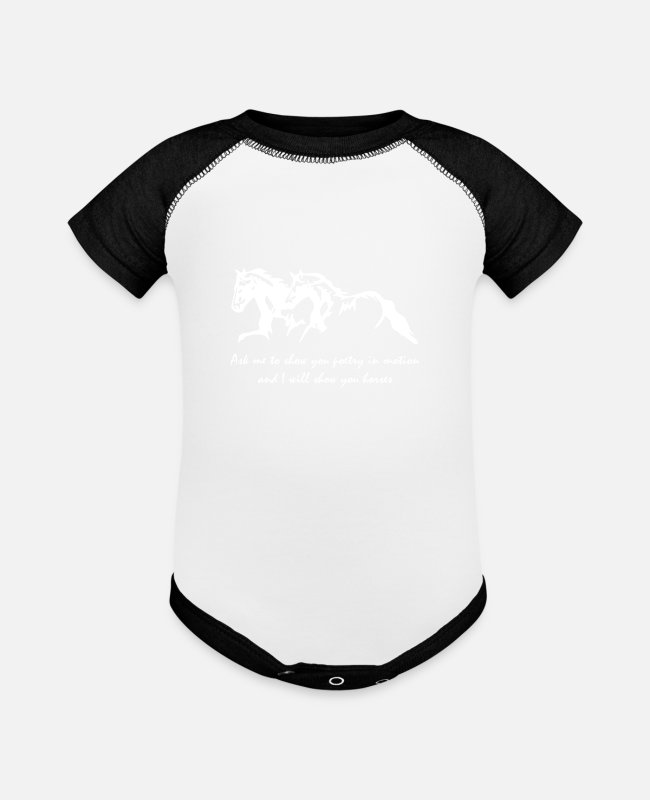 Young Baby One Pieces - Ask Me To Show You Poetry Horses Ladies VNeck Hors - Baseball Baby Bodysuit white/black