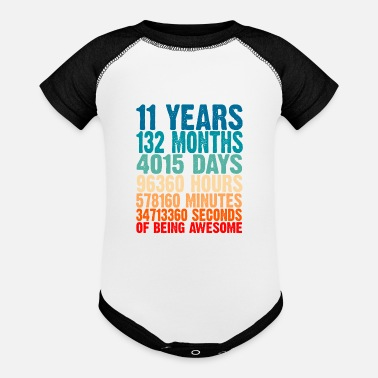 Old 11 Years Of Being Awesome Gifts 11 Years Old 11 Bi - Baseball Baby Bodysuit