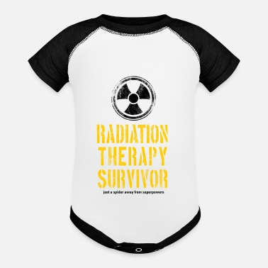 Radiation Survivor Radiation Therapy Survivor Yellow and Black - Baseball Baby Bodysuit