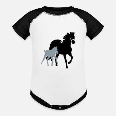 Mare mare with foal - Baseball Baby Bodysuit