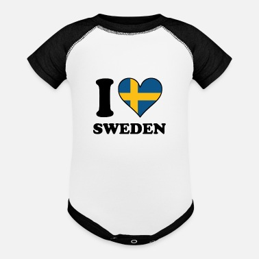 Sweden I Love Sweden Swedish Flag Heart - Baseball Baby Bodysuit