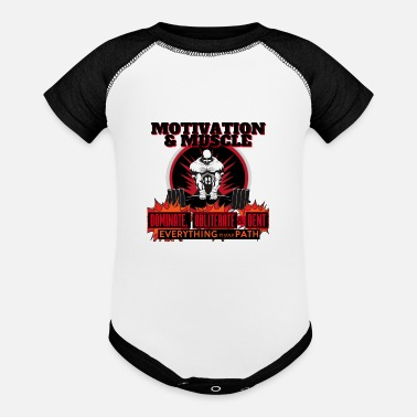 Dent Motivation and Muscle Dominate Obliterate and Dent - Baseball Baby Bodysuit