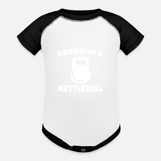 Weights Baby Clothing - Grandma's Kettlebell - Contrast Baby Bodysuit white/black