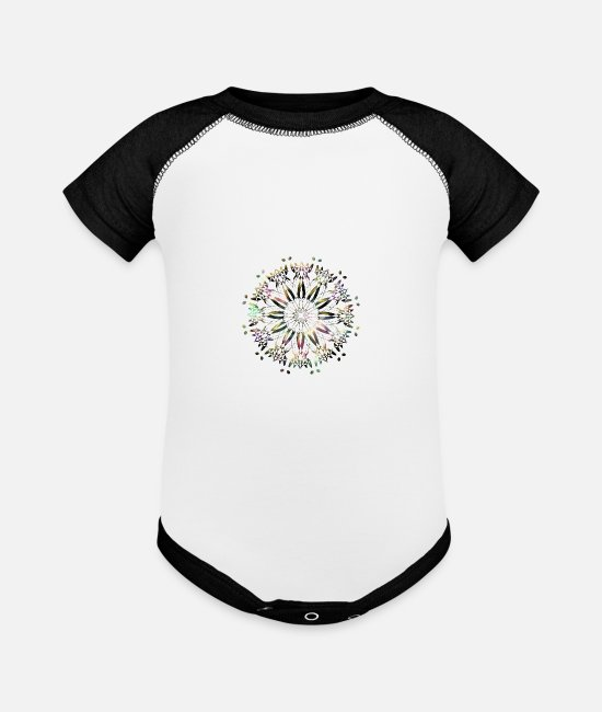 Psytrance Baby One Pieces - mandala - Baseball Baby Bodysuit white/black