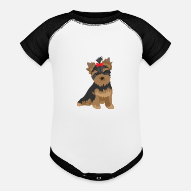 Angry Favorite Dog - Yorkshire Terrier red bow knot - Baseball Baby Bodysuit
