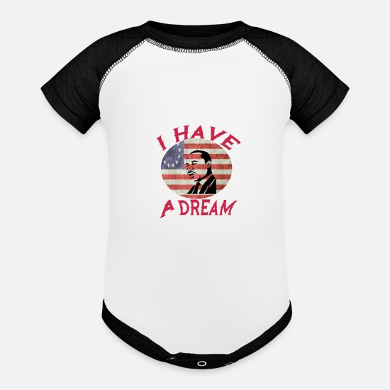 Trump Baby Clothing - I HAVE A DREAM - Baseball Baby Bodysuit white/black