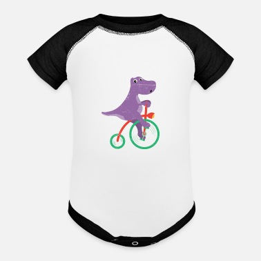 Christmas Dinosaur Dino Riding Bicycle Dino Lover - Baseball Baby Bodysuit