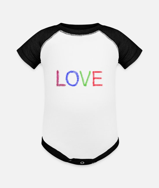 Engagement Baby One Pieces - Love Brushes - Baseball Baby Bodysuit white/black