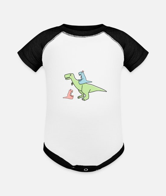 Dinosaurs Baby One Pieces - Cute pastel dinosaurs - Baseball Baby Bodysuit white/black