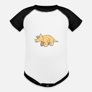 Colcurful Cute dinosaur triceratops - Baseball Baby Bodysuit