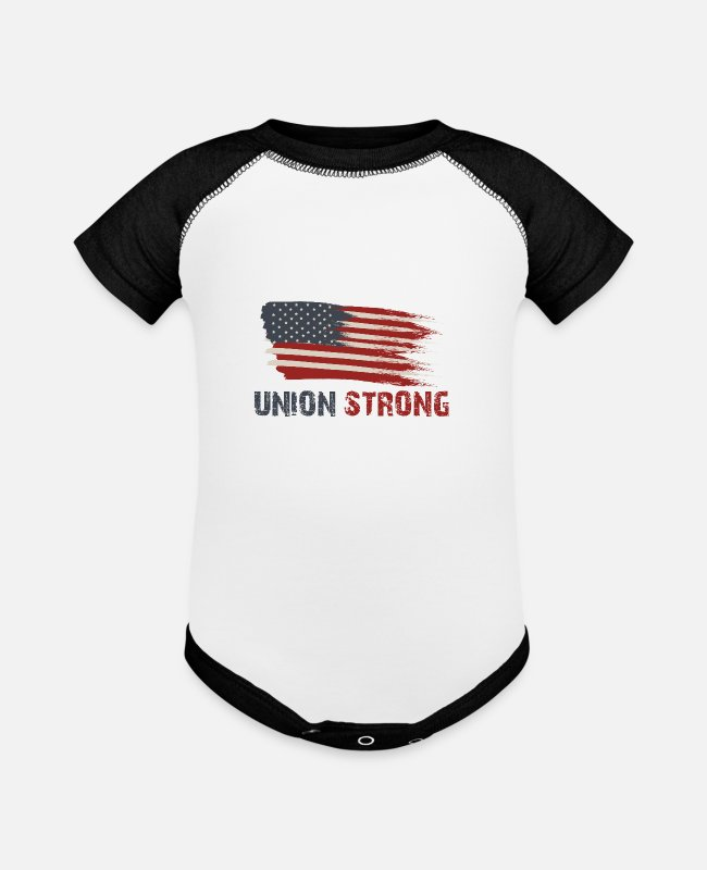 Holidays Baby One Pieces - Union Strong Vintage USA Flag Proud Labor Day - Baseball Baby Bodysuit white/black