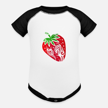 New Strawberry Sweet Fruit Tribal Tattoo Gift Idea - Baseball Baby Bodysuit