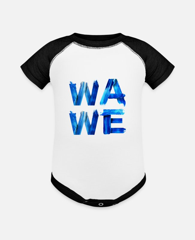 Surfers Baby One Pieces - Wave Nautical Water Letters Surfers Gift for - Baseball Baby Bodysuit white/black