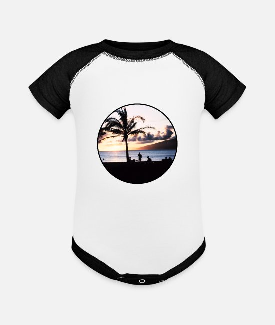 Nature Baby One Pieces - Nature - Photography - Vacation - Island - Palm - Baseball Baby Bodysuit white/black