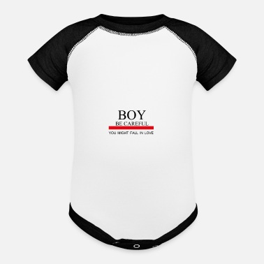 Boy Boy be careful you might fall in love - Baseball Baby Bodysuit