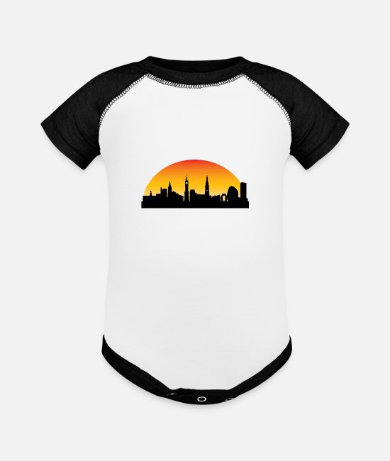 English Baby One Pieces - Sunset Skyline Silhouette of Leicester England - Baseball Baby Bodysuit white/black