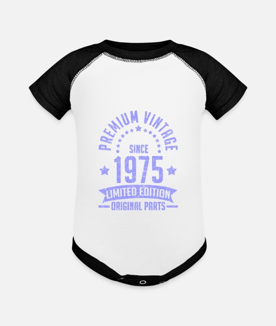 1975 Baby One Pieces - 1975 1e.png - Baseball Baby Bodysuit white/black