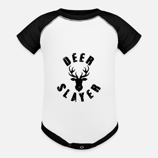 Stag Baby Clothing - Deer Killer Hunting Lovers | Deer Hunter - Baseball Baby Bodysuit white/black
