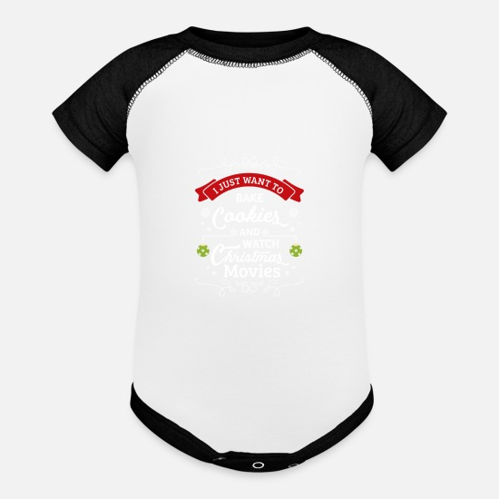 Christmas Baby Clothing - Christmas Gift: Bake Cookies and Watch Movies - Baseball Baby Bodysuit white/black