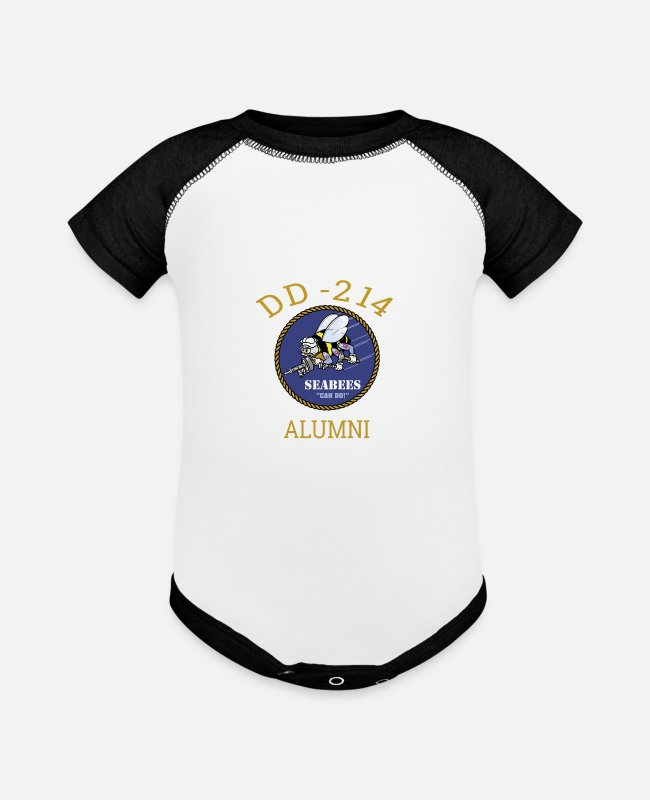Navy Baby One Pieces - Navy Seabees Shirt DD 214 Alumni T Shirt - Baseball Baby Bodysuit white/black