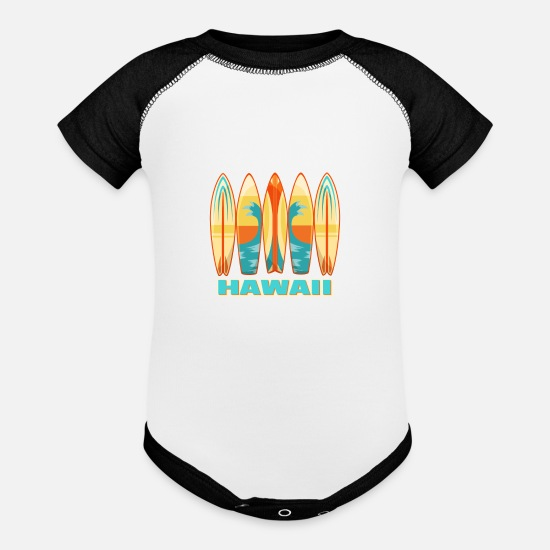 Surfboard Baby Clothing - Hawaii Surfboards - Baseball Baby Bodysuit white/black