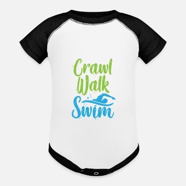 Swim Crawl Walk Swim Funny Swimming Pool Fan Gift - Baseball Baby Bodysuit