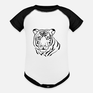 Drawing line tiger - Contrast Baby Bodysuit
