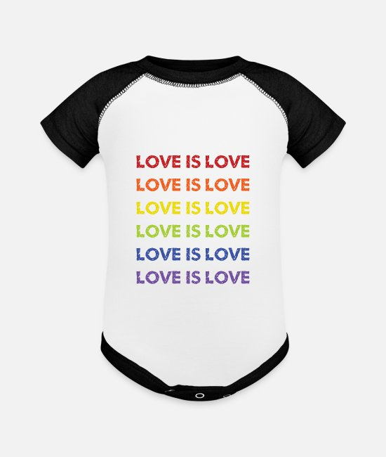 Gay Pride Baby One Pieces - love is love - Baseball Baby Bodysuit white/black