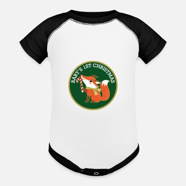 Christmas Babys 1st Christmas Woodland Fox - Baseball Baby Bodysuit