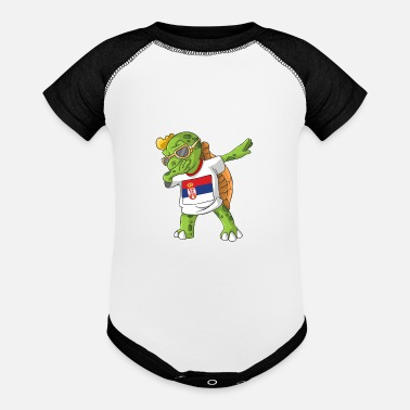 Serbia Serbia Dabbing Turtle - Contrast Baby Bodysuit